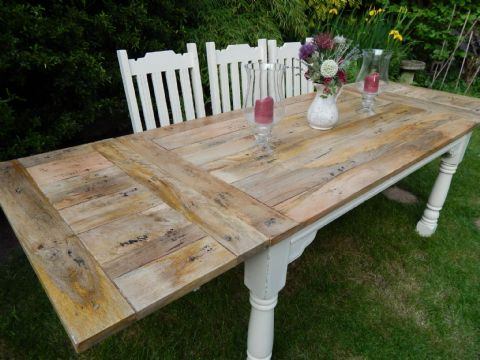 Large Rustic Oak Finish Extending Table (painted)